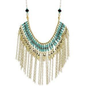 Gold and Turquoise Beaded Fringe Necklace NWOT